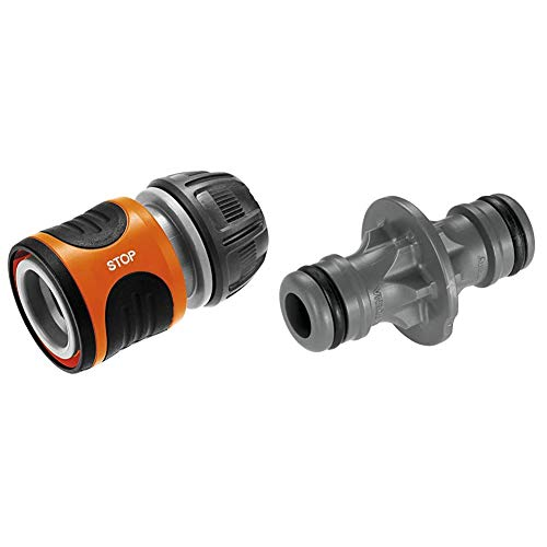 "Gardena Power Grip 18213-20 - Conector Stop, 13 mm (1/2"") y 15 mm (5/8""): Conector con Aquastop + 2931-20 - Manguito para prolongar Manguera de 19 mm (3/4"") a 13 mm (1/2"")"