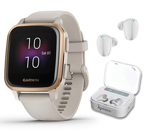 Garmin Venu Sq Music GPS Best Multisport Fitness Smartwatch Light Sand/Rose Gold with Wearable4U White Earbuds with Charging Power Bank Case Bundle