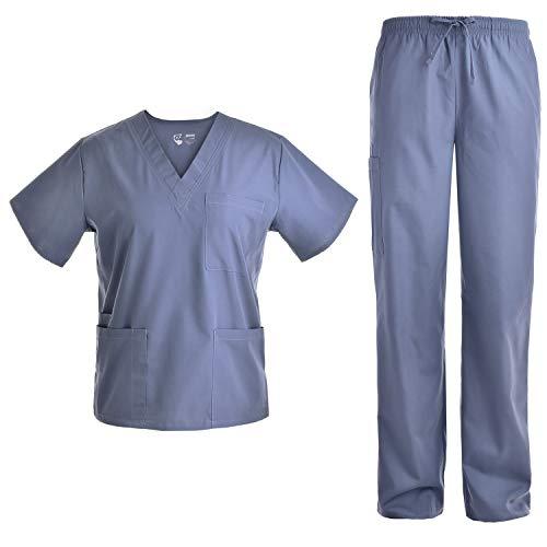 Unisex V Neck Scrubs Set Medical Uniform - Women and Man Nursing Scrubs Set Top and Pants Workwear JY1601 (Grey, L)