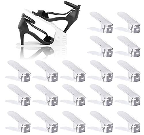 BIGLUFU Set de 20pcs Organizadores de Zapatos, Soporte de Calzado de Altura Ajustable, Zapatero Simple, Adecuada para Mujeres y Hombres, Ahorra Espacio (Blanco)