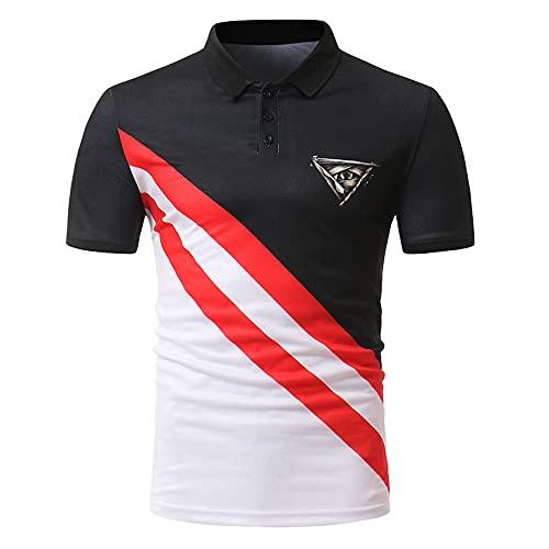 Deportiva Camisa Hombre Verano Ajustado Único Estampado Hombre Shirt Básicos Botón Placket Elástica Manga Corta Negocios Casual Golf Aire Libre Deporte Hombre Henley Camisa F-006 L