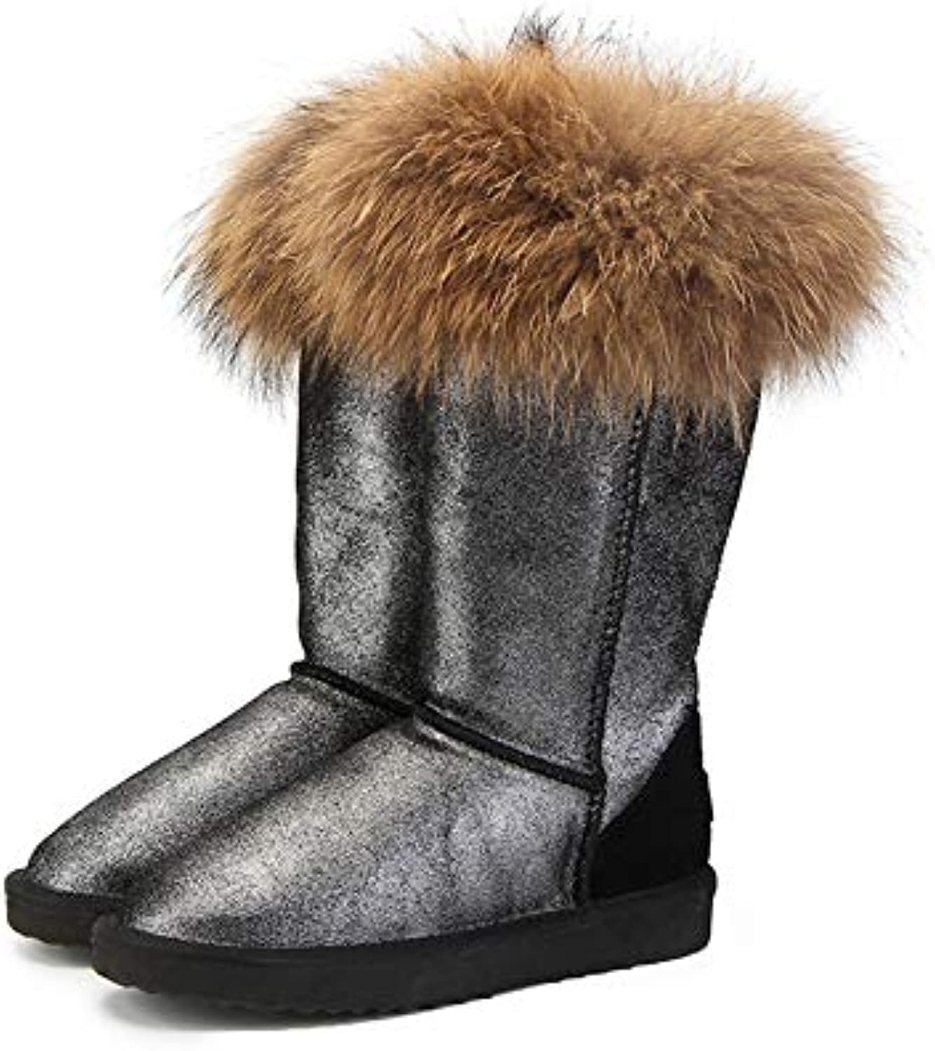 T-JULY Fashion Natural Real Fox Fur Women's Winter Warm Long Snow Boots Genuine Cow Leather High Winter Boots