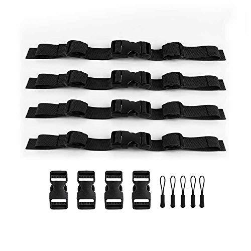 Mochila de nylon con correa para el pecho ajustable de 4 piezas para mochilas escolares universal resistente para trotar y caminar - Negro