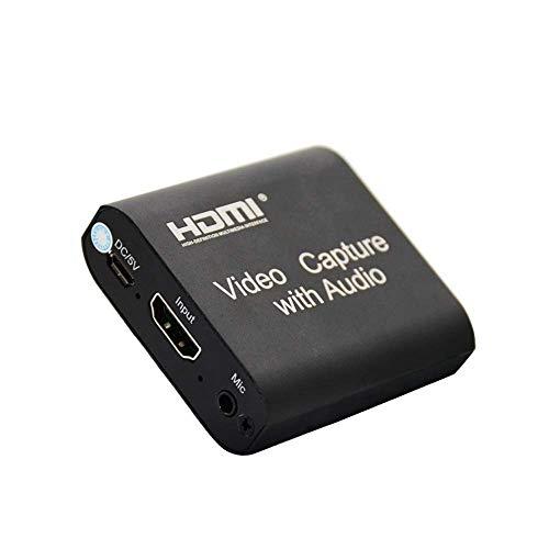DDS-DUDES Tarjeta de captura de vídeo HDMI con entrada de micrófono de salida de audio, tarjeta de captura HDMI a salida USB 2.0 HD 4K 1080P vídeo para juegos, transmisión en vivo, grabación