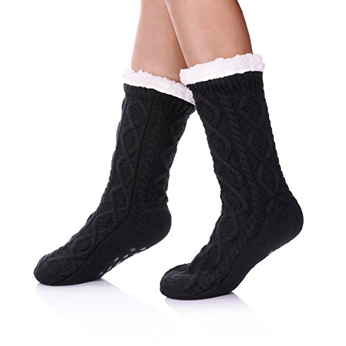 SDBING Women's Winter Super Soft Warm Cozy Fuzzy Fleece-Lined with Grippers Slipper Socks (Dark Gray)