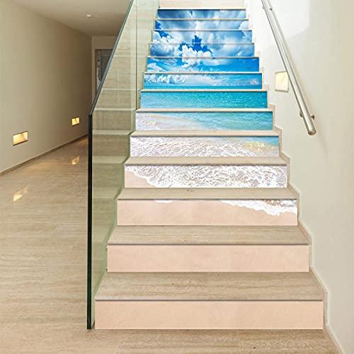 tzxdbh 3D Pegatinas de Escalera Azul océano playa 100CMx18CMx13pieces(39.3'w x 7'h x 13pieces) Escaleras Cocina Piso Baño Simulación Decoración de Pared Hogar Impermeable Extraíble Etiqueta de Pared