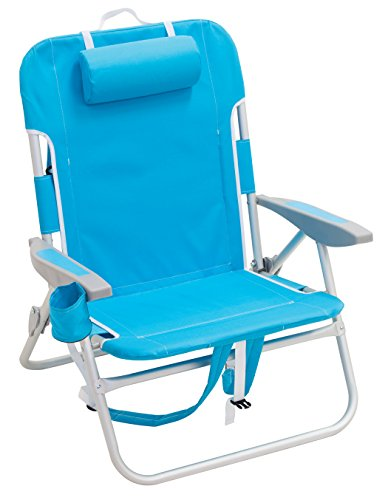 """RIO beach Big Boy 4-Position 13"""" High Seat Backpack Beach or Camping Folding Chair, Turquoise"""