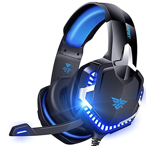 NPET ゲーミング ヘッドセット ヘッドホン ヘッドフォン 有線 3.5mm ステレオ 騒音隔離伸縮可能マイク付 通気 軽量 LED コネクタ PS4 Xbox One タブレット ノートパソコン スマートホン PUBG 対応 FPS ゲーム用 PC用ヘッドセット 男女兼用 2年間無償品質保証 HS60 ブルー