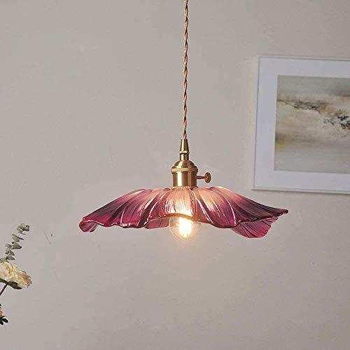 Lotus hoja vidrio araña lámpara de latón lámpara de comida retro mesa de comedor colgante luces tipo flores de cristal lámpara iluminación e27 techo luz cocina área rural restaurante sala de estar luc