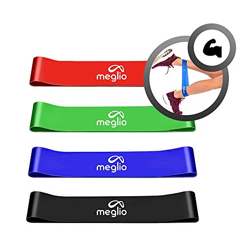 Meglio Loop Bänder Fitnessbänder für Yoga, Pilates, Rehabilitation, Training- Rot (leicht), grün (mittel), blau (schwer), schwarz (x-schwer)