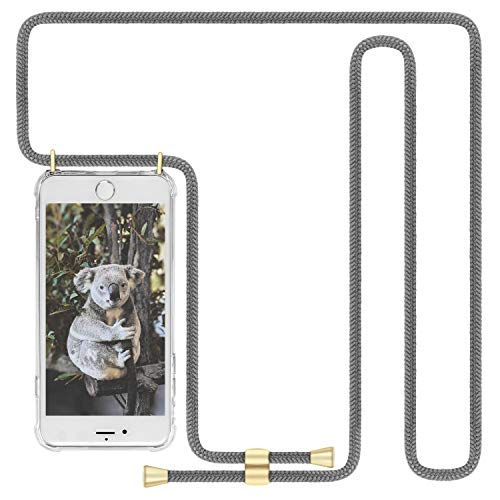Imikoko Handykette Hülle für iPhone 6/6S Necklace Hülle mit Kordel zum Umhängen Silikon Handy Schutzhülle mit Band - Schnur mit Case zum umhängen (Grau)