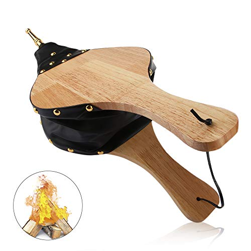 "Uplayteck Fireplace Bellows, 19""x 8"" Wood Fire Blower Fireplace Tools Accessories with Hanging Strap, Manual Air Blower for Outdoor Camping Barbeque Chimney"