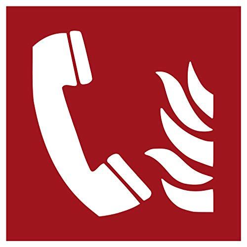 F006 Brandschutzaufkleber Brandmeldetelefon | Nachleuchtend nach DIN 67510 in grün | Selbstklebend Folie für Betriebe, Produktion & Kliniken | 150 x 150 mm | PlottFactory