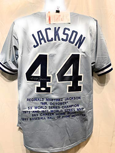Reggie Jackson New York Yankees Signed Autograph Grey Custom Jersey Embroidered Stats JSA Witnessed Certified