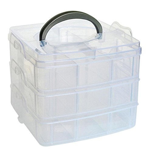 MINGHU 3-Tier Transparent Stackable Adjustable Compartment Slot Plastic Craft Storage Box Organizer Snap-lock Tray Container 3 Sizes 4 Candy Colors Available (Medium 18 Compartment, White)