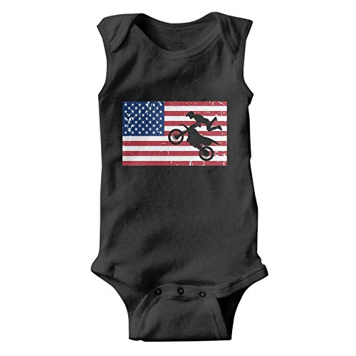 Flag USA Sign Motocross Jump Silhouette Unisex Baby Cotton Sleeveless Cute Baby Clothes Baby Onesies Black