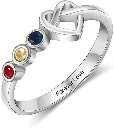 ROWAWA Love Knot Ring Double Heart Friendship Personalized Rings Sterling Silver Infinity Engagement Band for Women Lady Girlfriend Lover 1 Heart 3 Birthstones