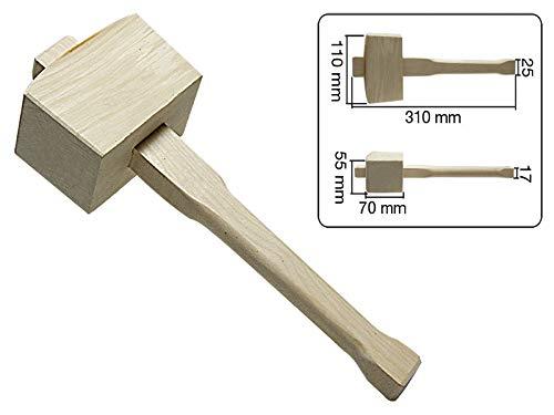 Klopfhammer eckig 310mm aus Holz Klopfholz 340gr Holzklüpfel Holzhammer Hammer