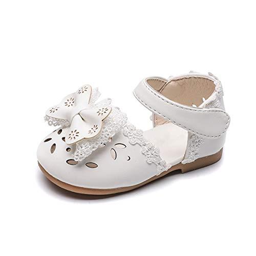 DEBAIJIA Baby Mädchen Prinzessin Schuhe Schleife Gummisohle rutschfeste Leder Mode Lässig Geeignet für 1-3 Jahre Kleinkind 22 EU Weiß(Etikettengröße 19)