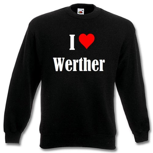 Reifen-Markt Sweatshirt Damen I Love Werther Größe M Farbe Schwarz Druck Weiss