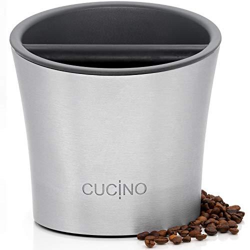 CUCINO Abschlagbehälter für Siebträger Maschinen, hochwertiger Abklopfbehälter, spülmaschinengeeignet, ideales Zubehör