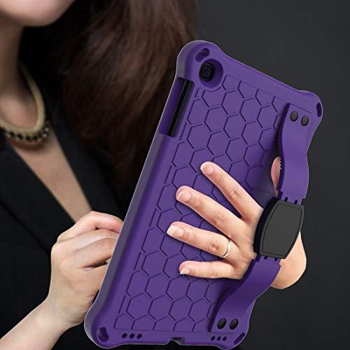 GUOSHU Mobile Phone Case Bag for iPad Mini 5/4 / 3/2 /1 Honeycomb Design EVA + PC Four Corner Anti Falling Flat Protective Shell with Straps Back Cover Case (Color : Purple+Black)