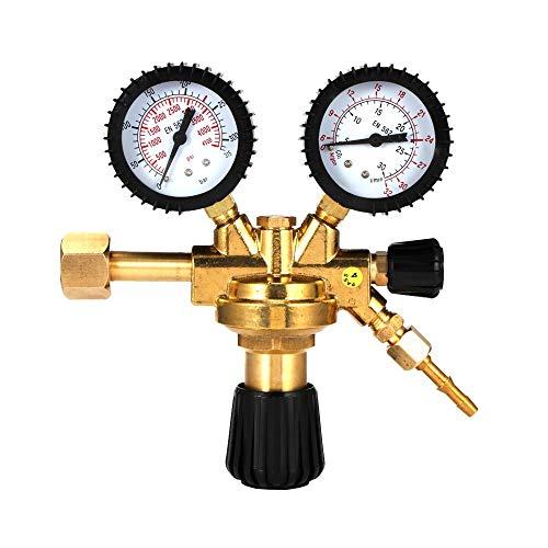 HUKOER Regolatore di Gas, Argon e anidride carbonica Riduttore di Pressione Universale con manometro, Superficie in Ottone, Adatto a Tutti i Gas Standard Comuni Argon / CO2 / Gas inerte