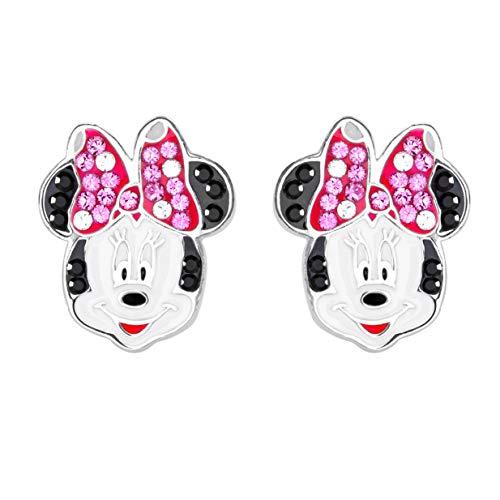 Disney Pendientes de tuerca de plata de ley con diseo de Minnie Mouse