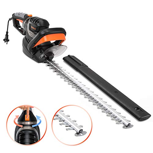 TACKLIFE Electric Hedge Trimmer 750W, 610mm Cutting Length, Space Between Teeth: 24mm, 900RMP, 180 Degree Adjustable Handle, Anti-Collision Cutting Head Design -GHT7A