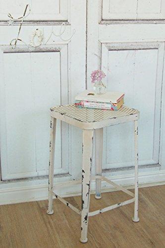 Hocker LOFT, weiß, aus edlem Metall im Landhaus Shabby Antique Chic