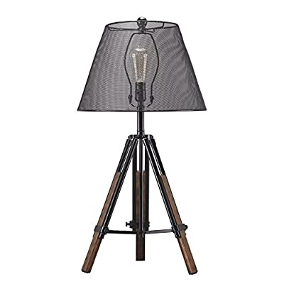 Ashley Furniture Signature Design - Leolyn Table Lamp with Metal Shade - Adjustable Height - Black/Brown