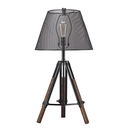 Signature Design by Ashley – Leolyn Table Lamp with Metal Shade – Adjustable Height – Black/Brown