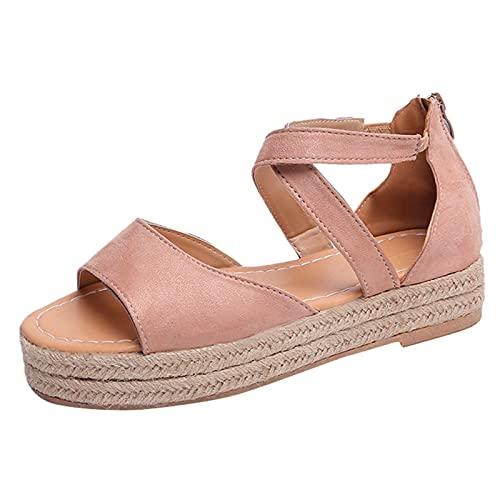Sandals for Women Dressy Summer Platform Peep Toe Zipper Flat Thick-Bottom Sandals Weave Shoes Womens Sandals Pink
