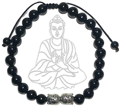 Buddha Bracelet | Wisdom | Pull Tie Adjustable Mantra Meditation Mindfulness Wellness Wristband | Reiki Healing Energy Bead Zen Self-Care Yoga Jewelry | Black Onyx