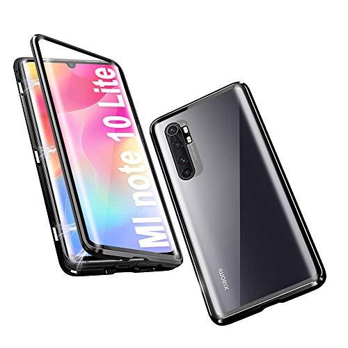 HaptiCover Hülle für Xiaomi Mi Note 10 Lite Magnetische Handyhülle 360-Grad-Schutz Starke Magneten Aluminium Rahmen Gehärtetes Glas Stoßfest Metall Flip Hülle - Schwarz