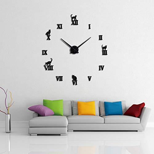 Fnito Reloj de Pared de Bricolaje Moda orologio da parete Specchio acrilico 3D Grande orologio al quarzo Ancora Vita orologi soggiorno decorazione Della casa adesivi ago 37inch Negro