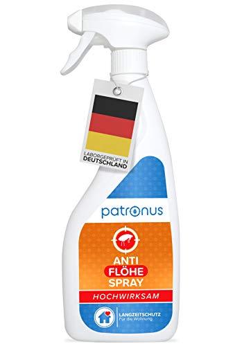 Patronus Anti Floh-Spray für die Wohnung 500ml - biologisch abbaubares Mittel gegen Flöhe mit Langzeitschutz - geruchsneutral, hochwirksam und laborgeprüft