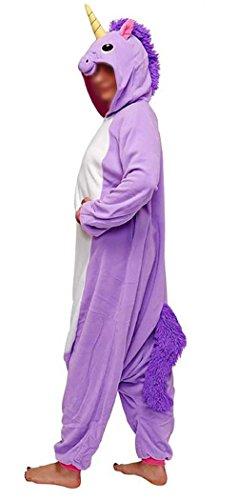 Anebalrui Einhorn Kostüm Tier Jumpsuits Pyjama Oberall Hausanzug Fastnachtskostuem Schlafanzug Schlafanzug Erwachsene Fasching Cosplay Karneval (L, Lila Einhorn)