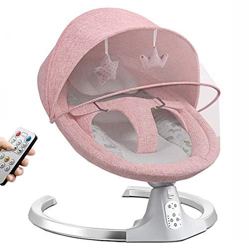 Utron balancin Bebe electrico con función Bluetooth y Mando a Distancia, función de balanceo automático, Temporizador,Hamaca Columpio Bebe para bebés recién Nacidos de 0 a 24 Meses,Pink