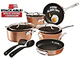 Gotham Steel Stackable Pots and Pans Set – Stackmaster 10 Piece Cookware Set with Ultra Nonstick Cast Texture Ceramic Coating, Saves 30% Space, Sauce Pans, Stock Pots, Skillets & More –Dishwasher Safe