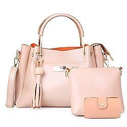 JFC Womens Canvas Handbag with Sling Bag Combo (Cream)