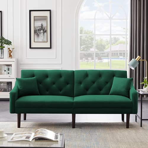 Pannow Velvet Tuft Futon Sofa Bed, Modern Convertible Loveseat Sleeper with Arms and 3 Adjustable Angles, Reclining Sofa Couch with 2 Pillows for Living Room Bedroom Guest Room, Green
