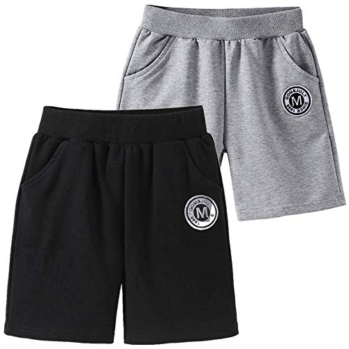 UWBACK Boys Shorts 2-Pack Solid Casual Joggers Tennager Shorts Black/Grey 8T,130