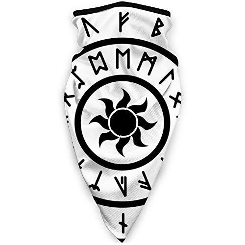 MLNHY - Funda protectora para la cara a prueba de viento, un anillo con las antiguas runas nórdicas con una ilustración de un símbolo de sol, decoraciones faciales impresas para todo el mundo