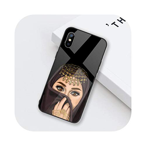 Funda para teléfono móvil de mujer en Hijab Face musulmán, cristal templado para iPhone 6, 6S, 7, 8 Plus, X, XS XR 11, 12 mini PRO MAX-a7-iPhone6 o 6S