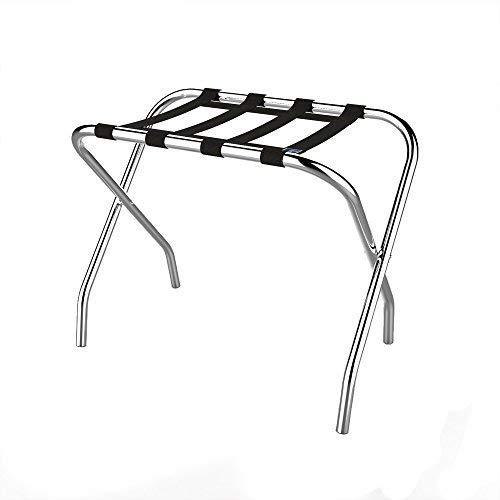 Chrome Folding Luggage Rack and Suitcase Stand- Durable Folding Bag Holder with Black Nylon Straps by Lavish Home