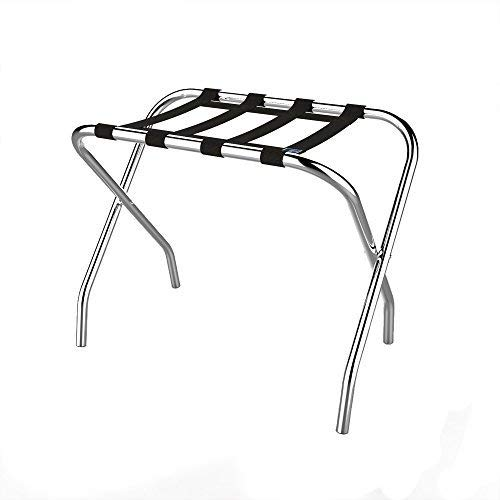 Check Out This Chrome Folding Luggage Rack and Suitcase Stand- Durable Folding Bag Holder with Black...