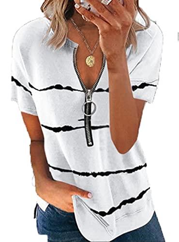 SLYZ Camiseta Estampada para Mujer De Verano Moda Casual Cremallera Camiseta De Manga Corta para Mujer Top