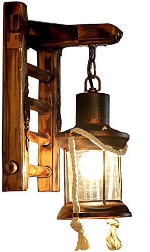 xxw Lámpara de pared para pasillo, estilo americano, restaurante, sala de té, aplique de pared de bambú