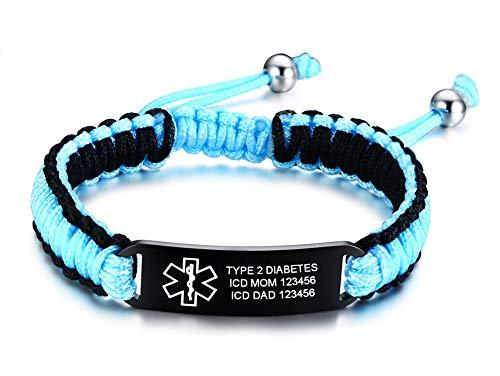 Free Custom Engraving Stainless Steel Sports ID Bracelet Medical Alert Braided Adustable Bracelet Waterproof Diabetic Bracelet For Men Women
